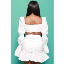 White Long Sleeve Puff Sleeve Ruffle Mini Skirt 2 Piece Sets BN-9298