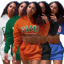 Letter Print Hooded Crop Top Mini Skirt 2 Piece Sets WXIN-WX016