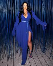 Blue Ruffle Long Sleeve Irregular Midi Dress (Without Belt)WXIN-WX014