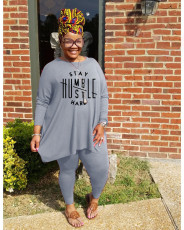 Plus Size Letter Print Long Sleeve Two Piece Sets WAF-77270