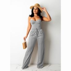 Solid Cami Top And Pants Two Piece Sets CHY-1345