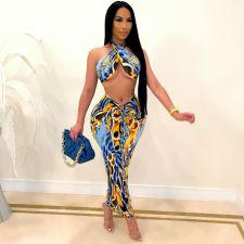 Sexy Printed Wrap Chest Long Skirt Two Piece Sets LSD-9183