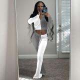 Contrast Color Velvet Long Sleeve Flared Pants 2 Piece Sets TR-1178