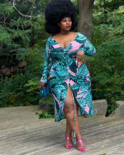 Plus Size V Neck Long Sleeve Drawstring Print Dress LP-66311