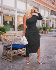 Plus Size Sexy One Shoulder Split Maxi Dress QYF-5082