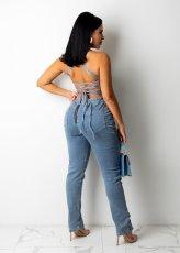 Sexy Denim Backless Cross Strap Jumpsuit LX-3509