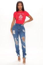 Denim Ripped Hole Skinny Jeans Pants LA-3264
