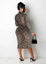 Sexy Leopard Long Sleeve Sashes Midi Dress MZ-2669