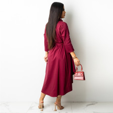 Solid 3/4 Sleeve Irregular Shirt Dress ZSD-0420