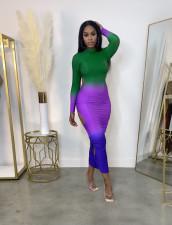 Sexy Gradient Hollow Long Sleeve Maxi Dress ZDF-31162
