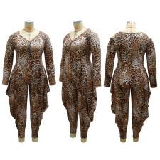 Plus Size Leopard Off Shoulder Zipper Casual Jumpsuit CYA-1690