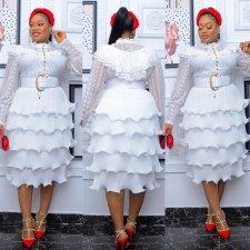 Plus Size White Lace Patchwork Cake Layer Midi Dress (Without Belt) CYA-1662