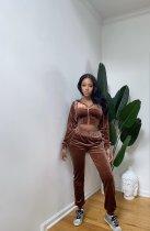 Solid Velvet Hooded Long Sleeve 2 Piece Pants Set YS-8826