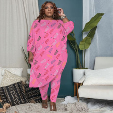 Plus Size Letter Print Irregular Top And Pants 2 Piece Sets OYF-8282