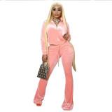 Solid Velvet Pullover Top Flared Pants 2 Piece Sets QSF-51045