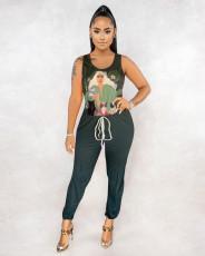 Casual Printed Sleeveless Jumpsuit MUM-8019