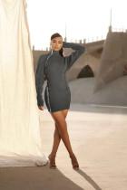 Sexy Long Sleeve Zipper Slim Mini Dress OJS-9263