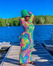 Plus Size Tie Dye Backless Hollow Out Maxi Dress HEJ-S6082