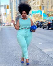 Plus Size Solid Sleeveless Two Piece Pants Set HEJ-S6083