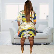 Plus Size Casual Printed Sashes Dress HEJ-J5094