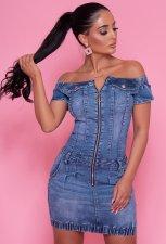 Denim Sexy Slash Neck Slim Mini Dress LX-6917