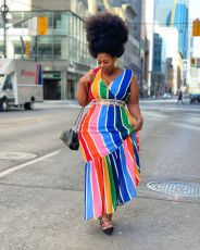 Plus Size Colorful Striped Sleeveless Maxi Dress (Without Belt) HEJ-Y6052