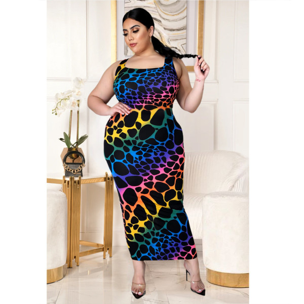Plus Size Colorful Printed Sleeveless Maxi Dress HEJ-S6057