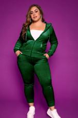 Plus Size Velvet Hooded Zipper 2 Piece Pants Set HEJ-S6092