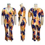 Plus Size Printed V Neck Sashes Jumpsuit HEJ-S6061