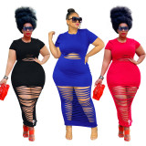 Plus Size Solid Hollow Out Short Sleeve Maxi Dress HEJ-S6067