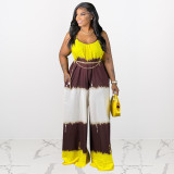 Plus Size Printed Wide Leg Jumpsuit (Without Chain) HEJ-S6071