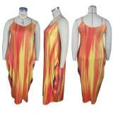 Plus Size Sexy Printed Spaghetti Strap Maxi Dress HEJ-S6056