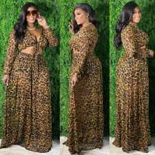 Plus Size Printed Tie Up Long Sleeve Maxi Skirt 2 Piece Sets HEJ-S6072