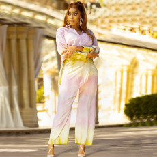 Plus Size Printed Long Sleeve Blouse And Pants 2 Piece Suits SZF-8181