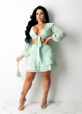 Sexy Tie Up Long Sleeve Mini Skirt 2 Piece Sets SMXF-98111