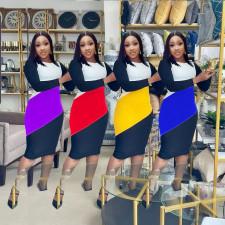 Plus Size Contrast Color Long Sleeve Midi Dress WPF-80348