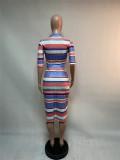 Colorful Striped Half Sleeve Midi Skirt 2 Piece Sets XMEF-X1022