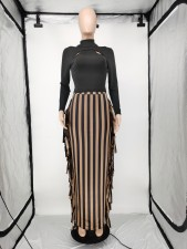 Sexy Black Hollow Out Top+Striped Tassel Skirt 2 Piece Sets APLF-5086