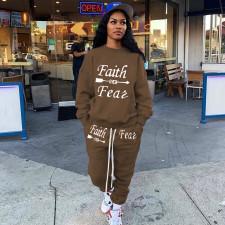Plus Size Letter Print Sweatshirt And Pants 2 Piece Sets NYMF-CL105