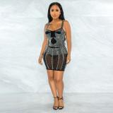 Sexy Hot Drilling Sleeveless Strap Night Club Dress CYA-9230