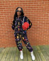 Letter Print Hoodie Top And Pants 2 Piece Suits NYMF-CL103