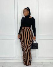 Striped Tassel High Waist Long Skirt OLYF-96076