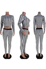 Houndstooth Print Long Sleeve 2 Piece Pants Set NYMF-NY1008