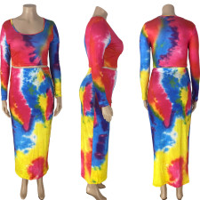 Plus Size Tie Dye Full Sleeve Long Skirt 2 Piece Sets NYMF-CL234