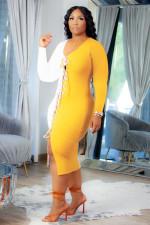 Plus Size Contrast Color Lace Up Long Sleeve Bandage Dress FNN-8635
