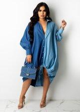 Casual Loose Long Sleeve Drawstring Shirt Dress ZSD-0422