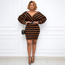 Plus Size Casual Striped V Neck Long Sleeve Mini Dress YUHF-80896