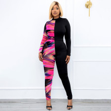 Plus Size Printed Long Sleeve Casual Jumpsuit WPF-80358