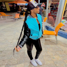 Casual Patchwork Full Sleeve Baseball Jacket XINF-60033