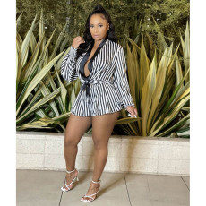 Sexy Striped Long Sleeve Top Wide Leg Shorts 2 Piece Sets ASL-6513